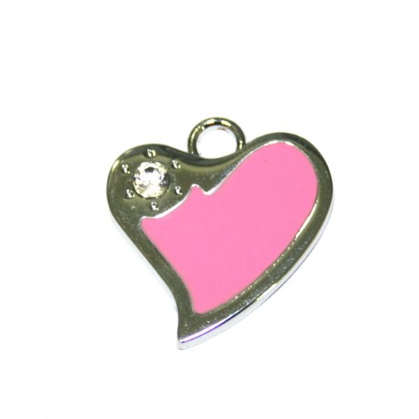 1 x 21*19mm rhodium plated pink curved heart enamel charm with rhinestone - SD03 - CHE1270
